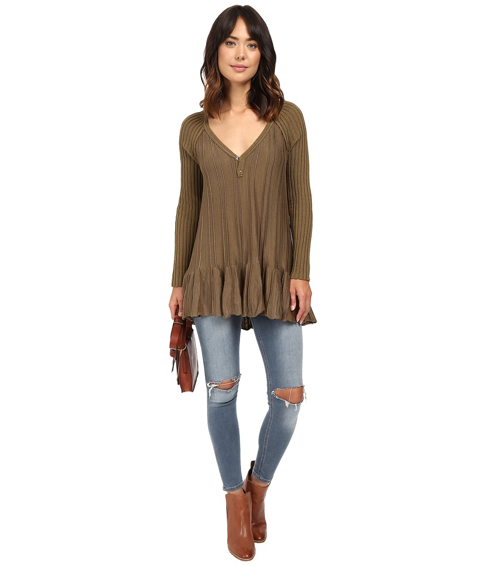 Free People - Ribs and Ruffles Sweater (Green Combo) Women
