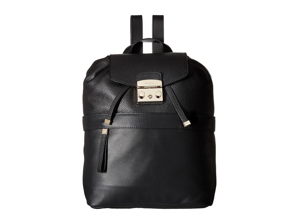 Furla - Lara Small Backpack (Onyx) Backpack Bags