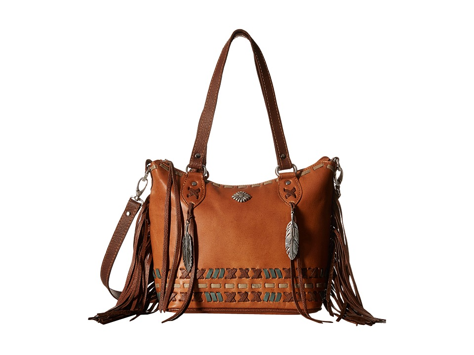 American West - Mohican Melody Convertible Zip Top Bucket Tote (Golden Tan/Antique Brown) Tote Handbags