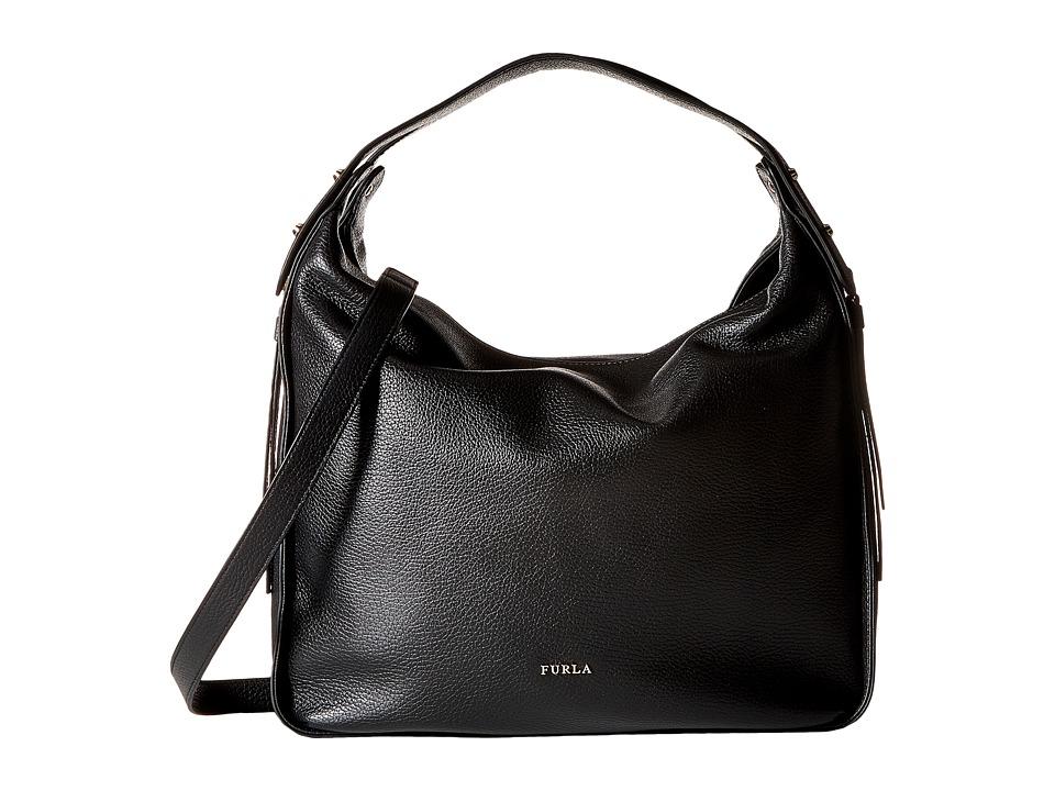 Furla - Eva Medium Hobo (Onyx) Hobo Handbags