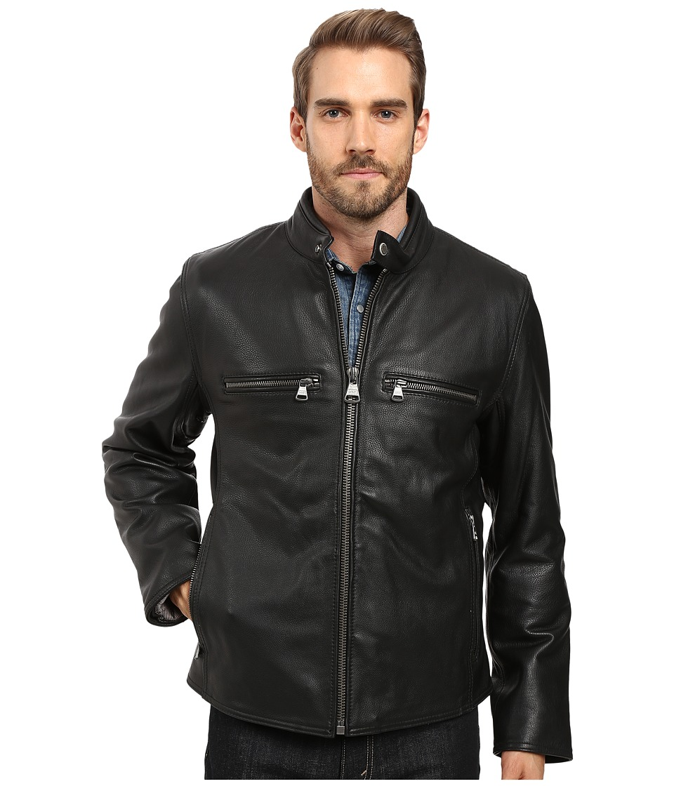 Marc New York by Andrew Marc - Bedford Calf Skin Moto (Black) Mens Coat
