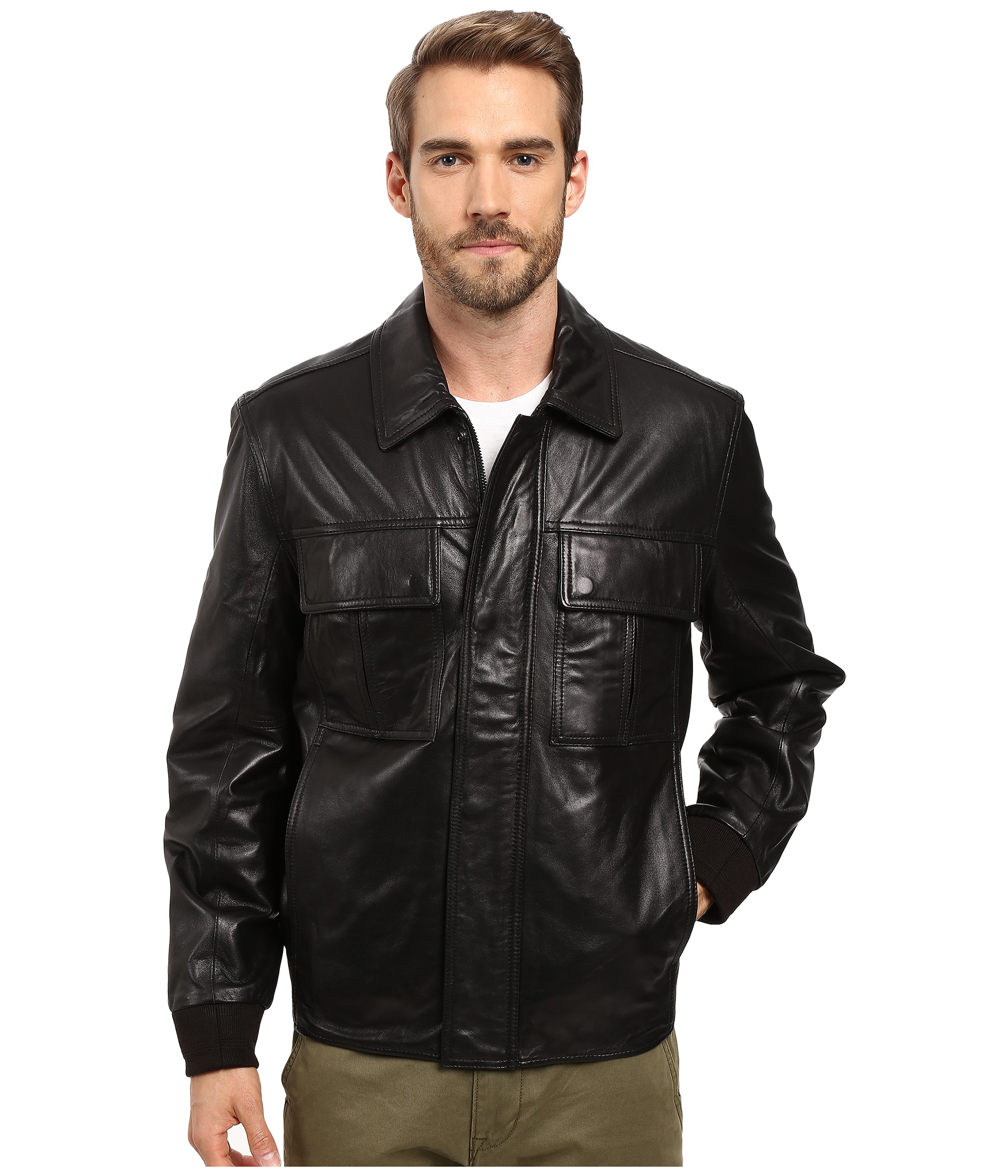 Marc new york leather bomber jacket