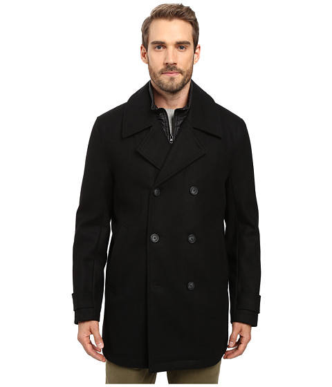 Marc New York by Andrew Marc Cushing Pressed Wool Peacoat w/ Removable Quilted Bib - Black