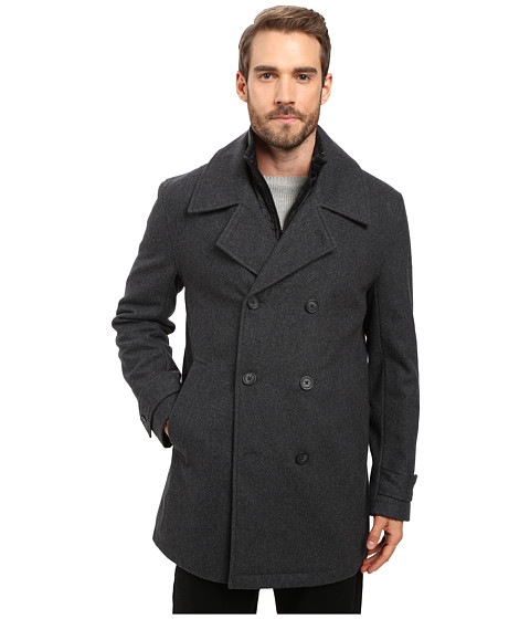 Marc New York by Andrew Marc Cushing Pressed Wool Peacoat w/ Removable Quilted Bib - Charcoal