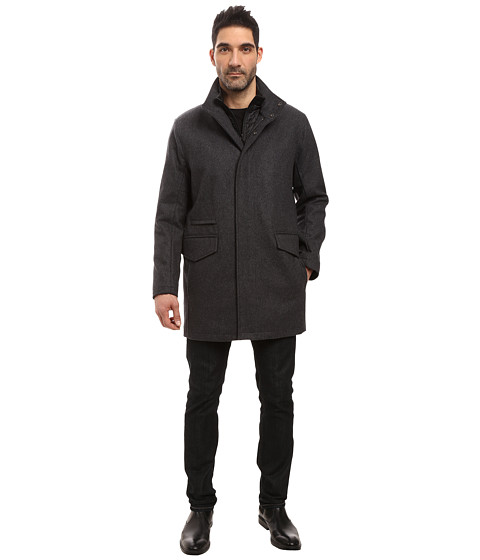 Marc New York by Andrew Marc Stanford Pressed Wool Car Coat with Removable Quilted Bib - Charcoal