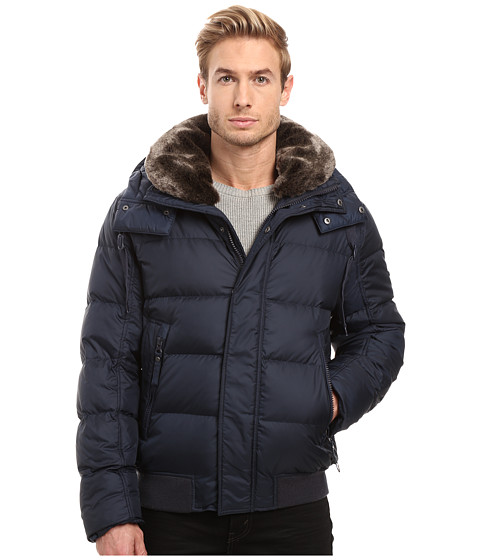 Marc New York by Andrew Marc Rockingham Down Bomber w/ Removable Faux Fur Collar & Hood - Ink