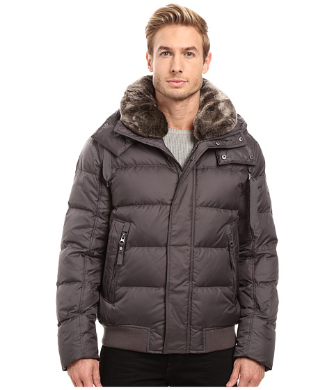 Marc New York by Andrew Marc Rockingham Down Bomber w/ Removable Faux Fur Collar & Hood - Fog