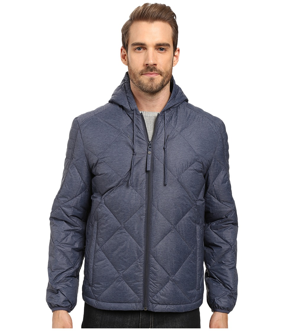 Marc New York by Andrew Marc - Appleton Melange Lightweight Packable Down Hoodie with Diamond Quilting (Ink) Men
