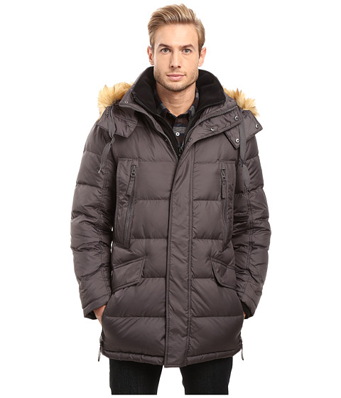 Marc New York by Andrew Marc Hancock Down Parka w/ Removable Hood and Fleece Bib - Fog