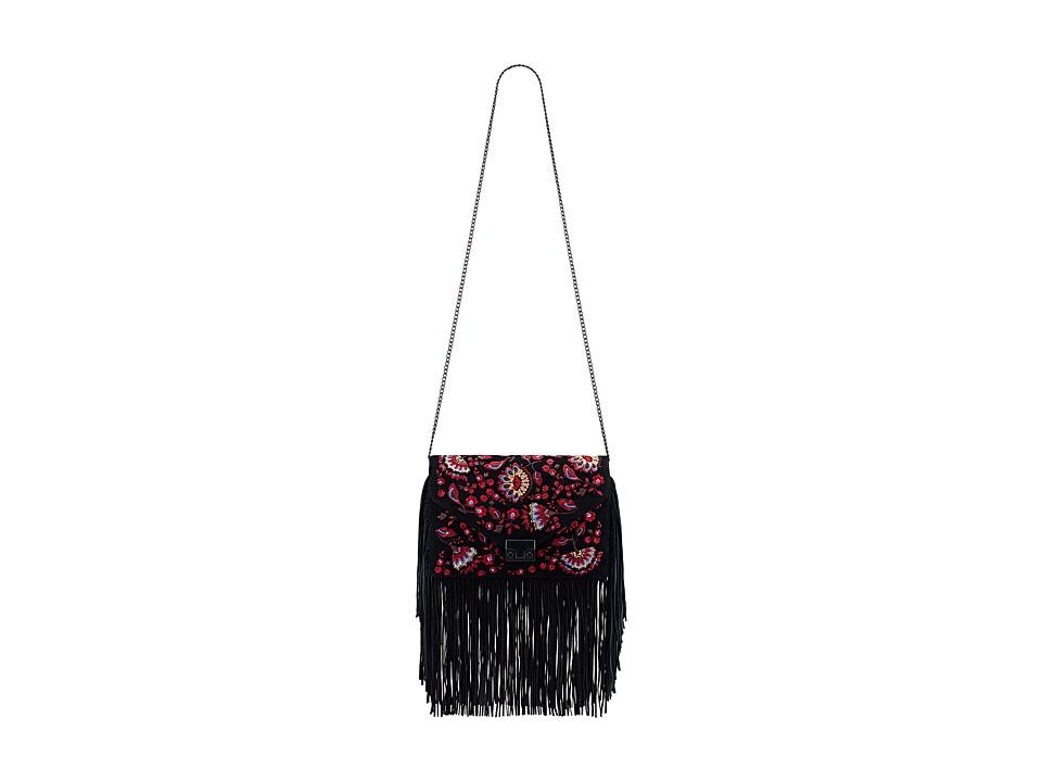 Loeffler Randall - Lock Clutch (Black Floral/Black) Clutch Handbags