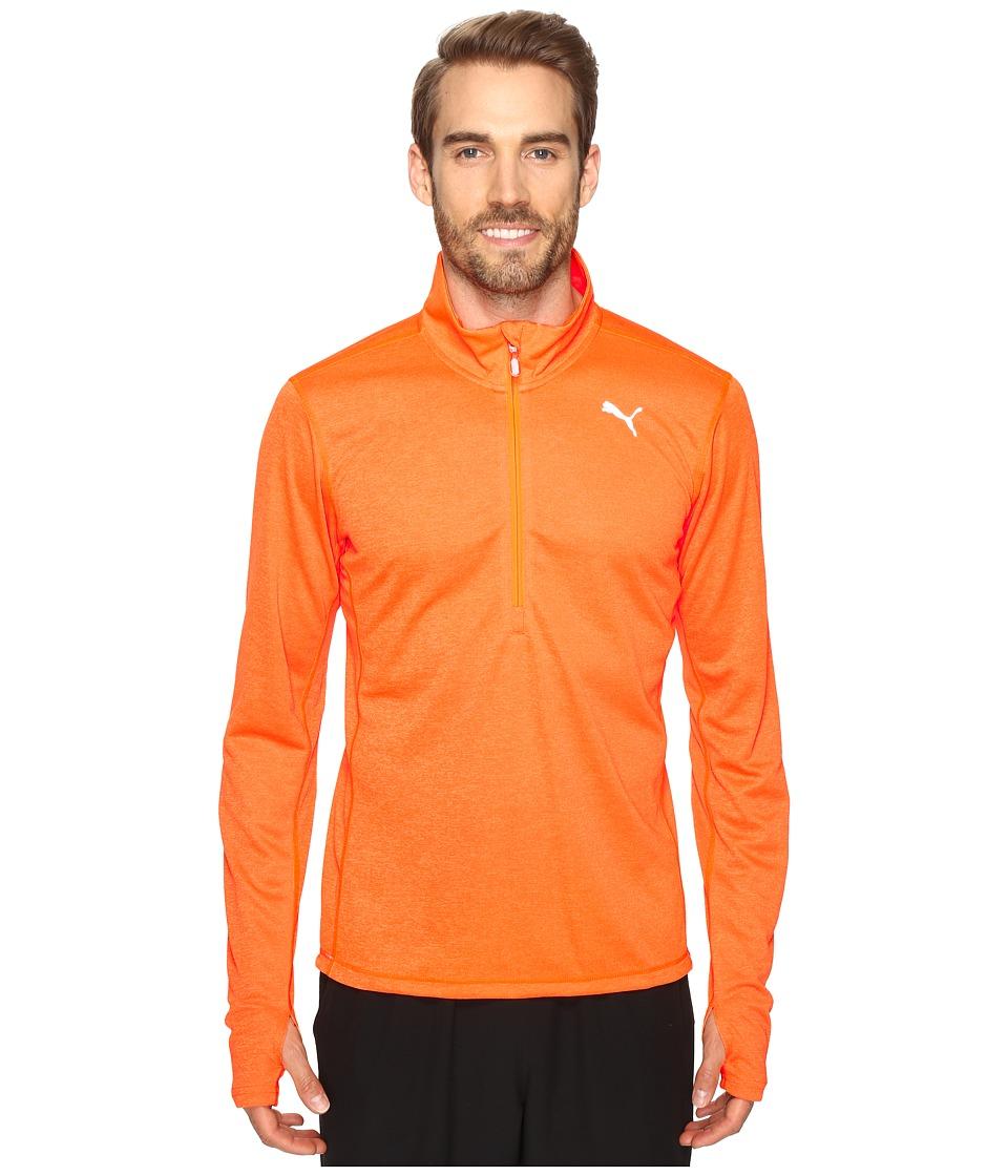 PUMA PE Running Long Sleeve Half Zip Tee (Shocking Orange Heather) Men