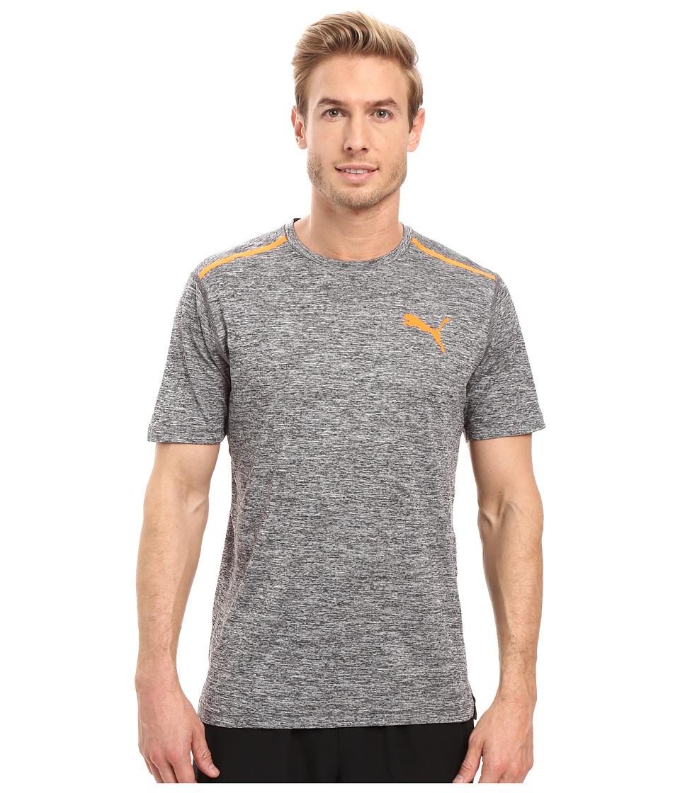 PUMA Bonded Tech Short Sleeve Tee (Dark Gray Heather/Shocking Orange) Men