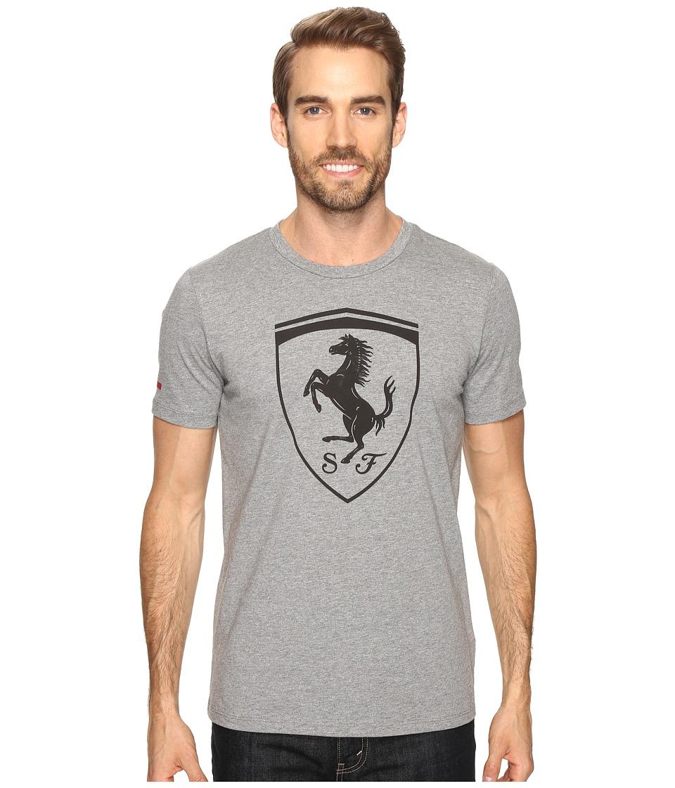 PUMA Ferrari Big Shield Tee (Medium Gray Heather) Men