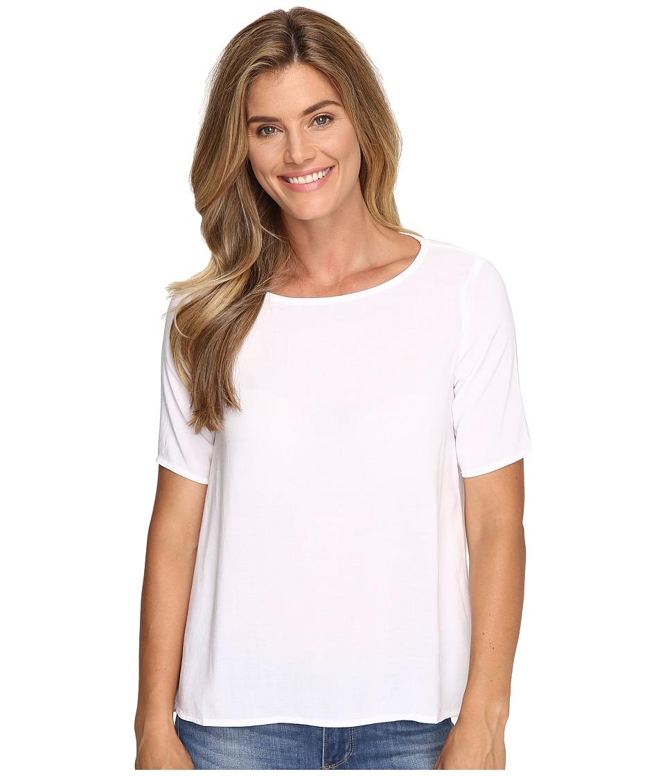 Image of Allen Allen - 1/2 Sleeve High-Low Crew (White) Women's Short Sleeve Pullover