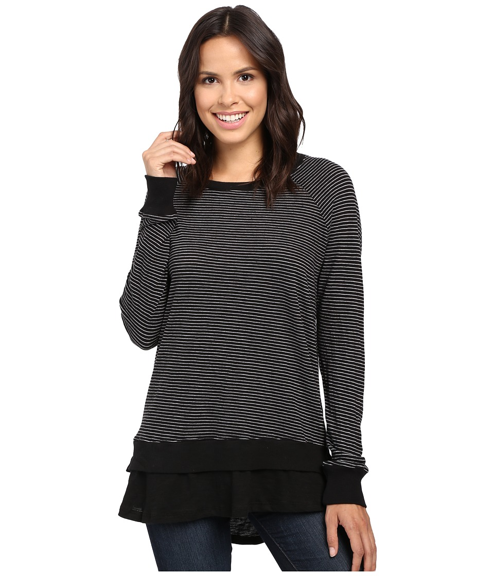 Allen Allen - Long Sleeve Raglan Double Layer Crew (Black) Women
