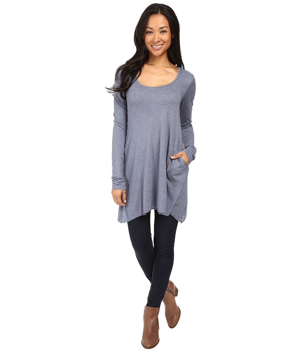 Allen Allen L/S Angled 2-Pocket Scoop Tunic (Blue Haze) Women