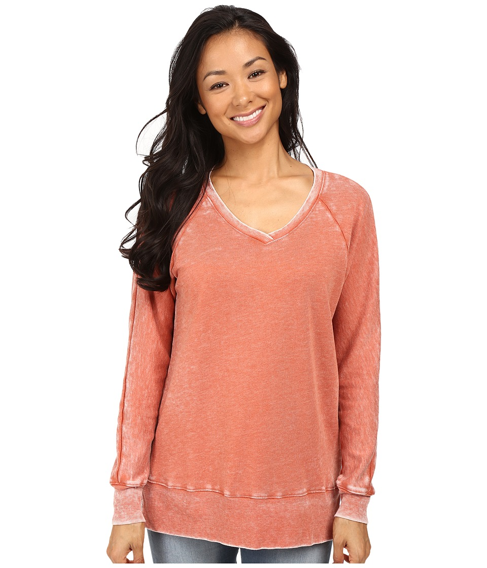 Allen Allen - Long Sleeve Raglan Vee Tunic (Burnt Orange) Women's Sweater