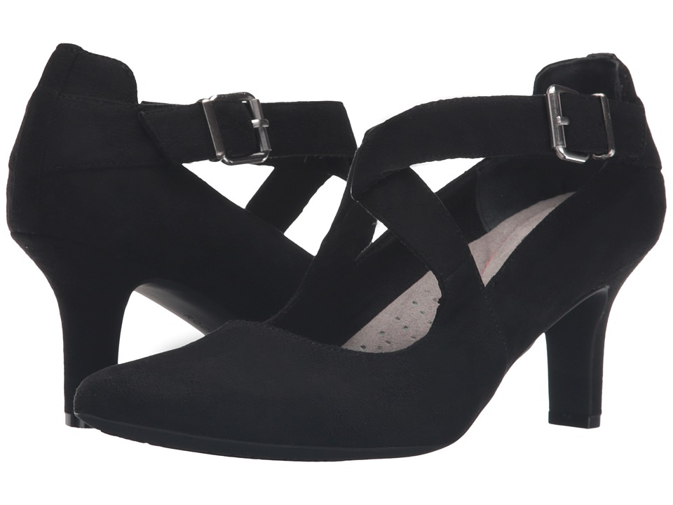 Vintage Style Shoes, Vintage Inspired Shoes Rockport - Sharna Cross Strap Black Micro Suede High Heels $80.00 AT vintagedancer.com