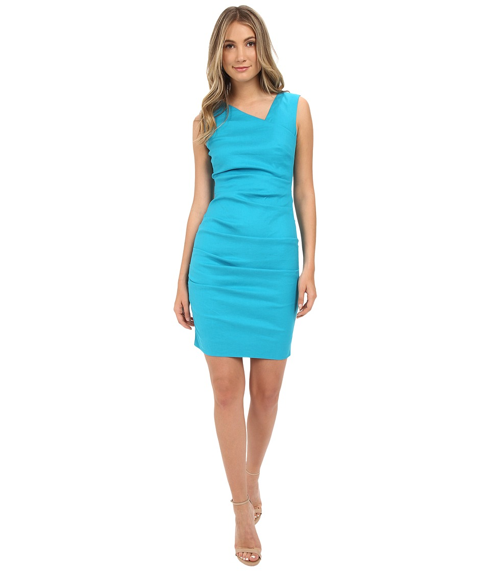 Nicole Miller Asymmetric Laila Linen Sheath Aqua Womens Dress