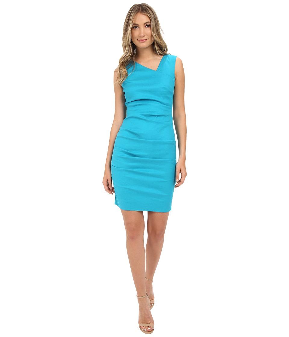 Nicole Miller Asymmetric Laila Linen Sheath Aqua Womens Dress