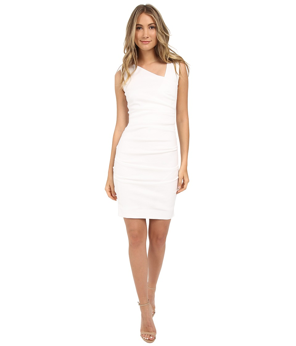 Nicole Miller Asymmetric Laila Linen Sheath White Womens Dress