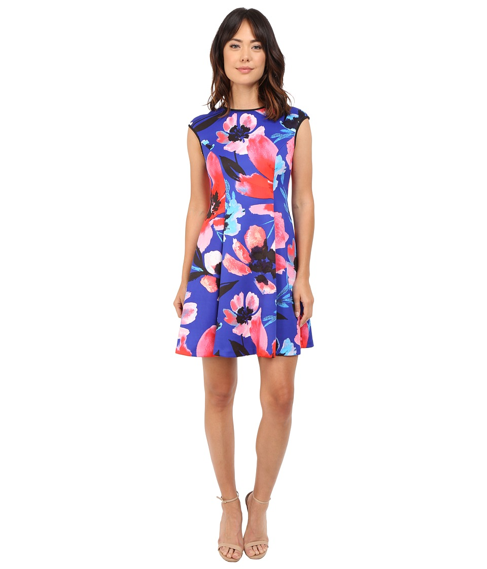Vince Camuto Printed Scuba Extended Cap Sleeve Fit Flare Dress Blue Multi Womens Dress