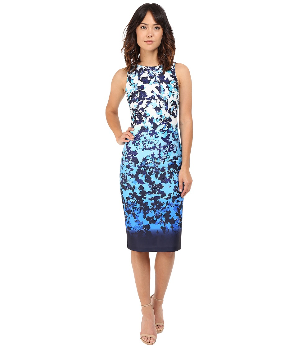 Vince Camuto Printed Scuba Sleeveless Bodycon Ombre Dress Blue Multi Womens Dress
