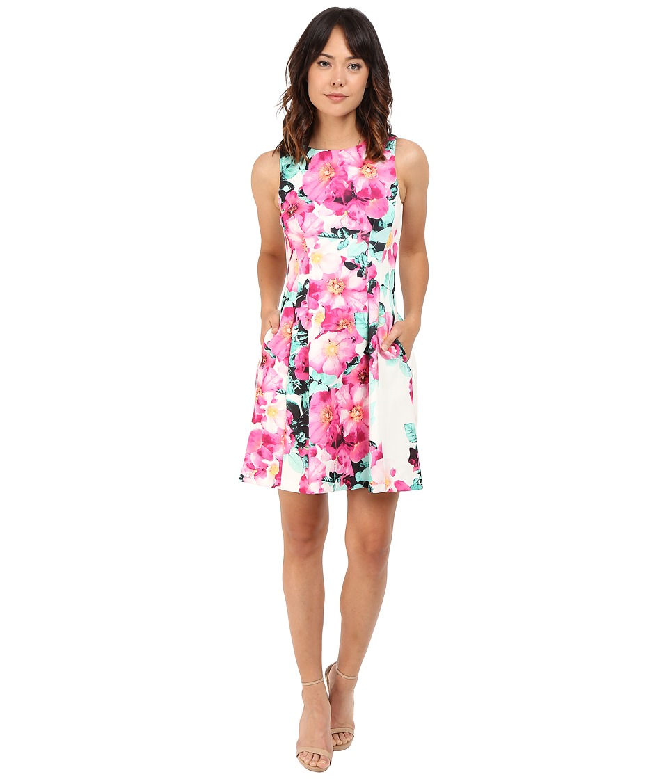 Vince Camuto Printed Scuba Sleeveless Halter Shift Dress Pink Multi Womens Dress