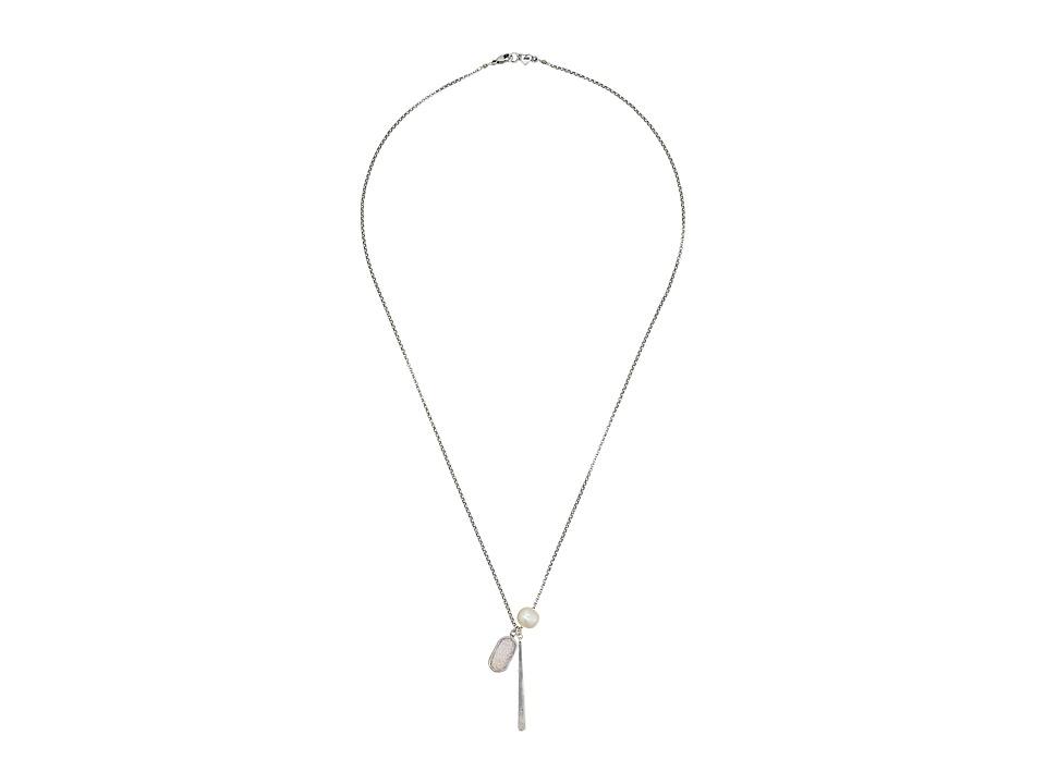 Chan Luu 22 Rainbow Agate with Pearl Charm Layering Necklace Rainbow Agate Necklace