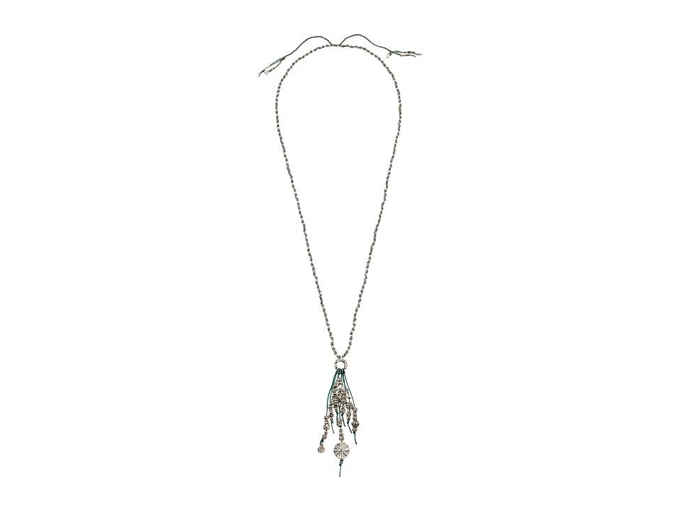 Chan Luu - 30' Adjustable Aqua Sea Cotton Cord Necklace with Tassles (Aqua Sea) Necklace