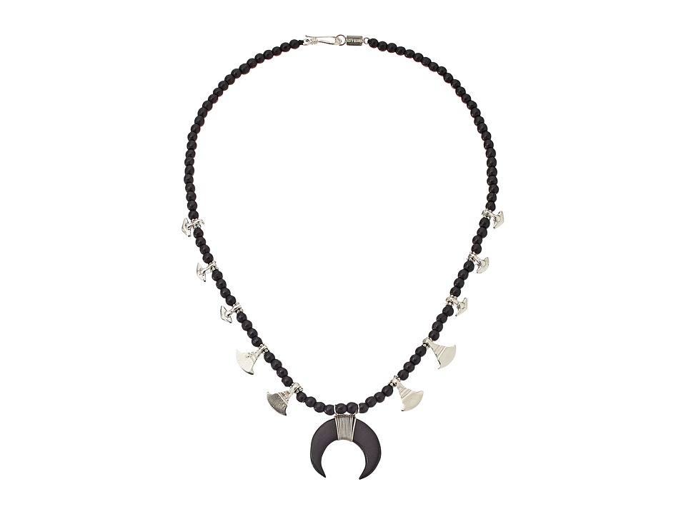 Chan Luu 17 Black Wood Mix Necklac with Horn Charm Black Wood Mix Necklace