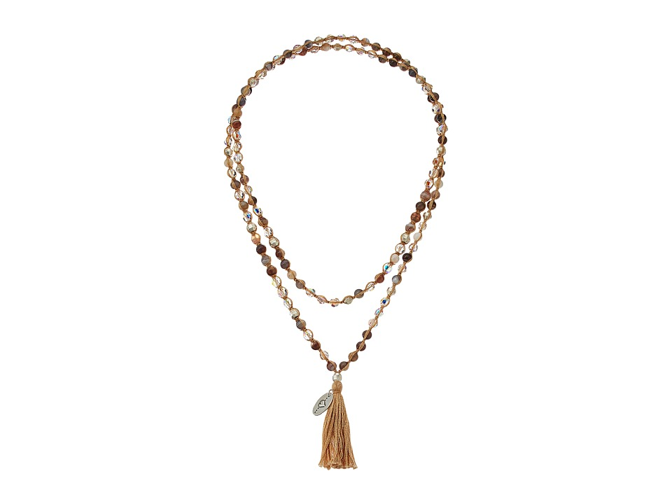 Chan Luu 42 Botswana Agate Mix Necklace with Tassle Botswana Agate Mix Necklace