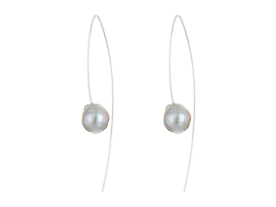 Chan Luu Sterling Silver Thread Thru Wire Earrings with White Fresh Water Pearls Grey Pearl Earring