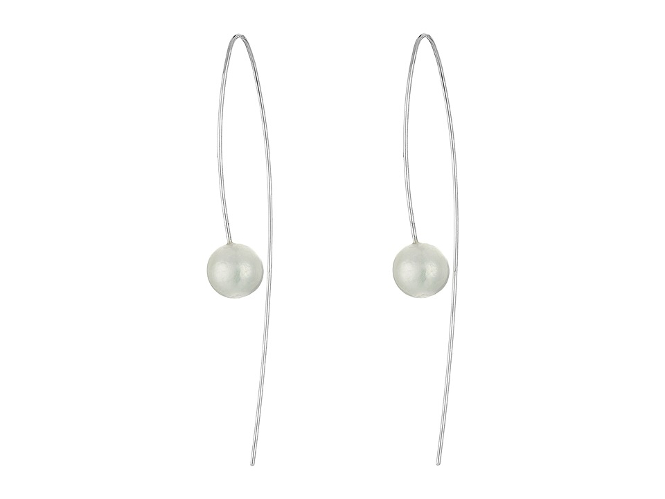 Chan Luu Sterling Silver Thread Thru Wire Earrings with White Fresh Water Pearls White Pearl Earring