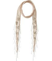 Chan Luu - Viscose Chiffon Floral Beaded Skinny Scarf