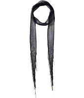 Chan Luu - Viscose Chiffon Solid Skinny Scarf with Chain Fringe