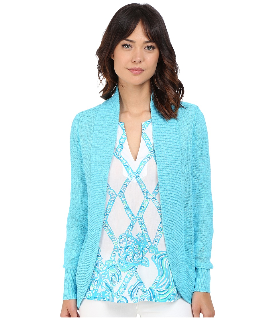 Lilly Pulitzer Amalie Cardigan Pool House Blue Womens Sweater