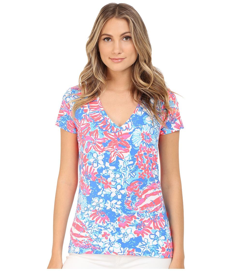 Lilly Pulitzer Michele Top Bay Blue Pop Pop Womens T Shirt