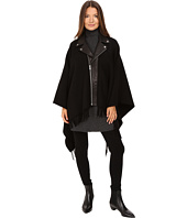 The Kooples - New Wool Poncho with Perfecto Leather Collar