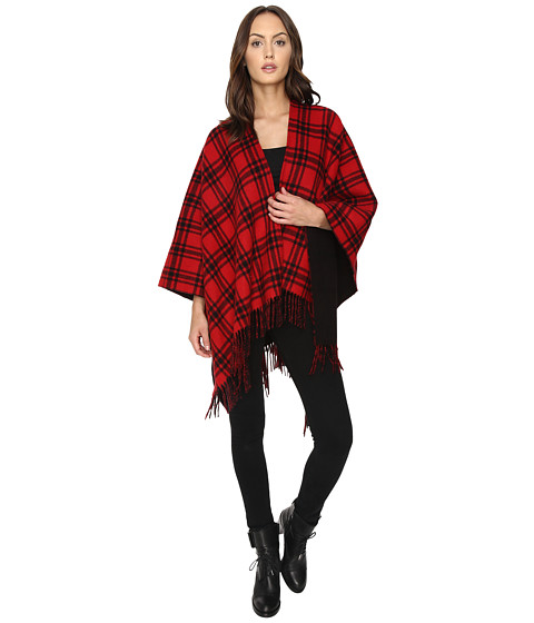 The Kooples Double-Sided Wool Check Poncho with Black Lining
