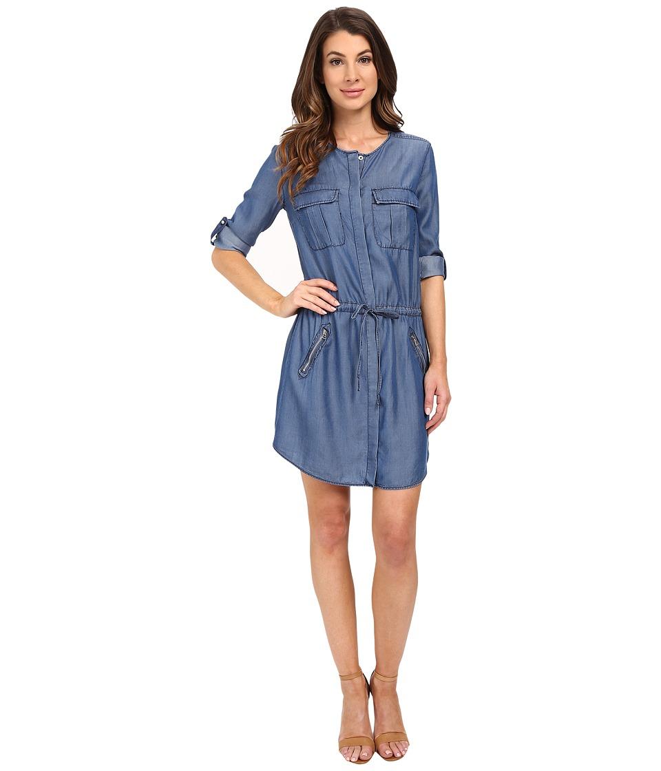 KUT from the Kloth Aubrey Roll Tab Chambray Dress Dark Blue Womens Dress