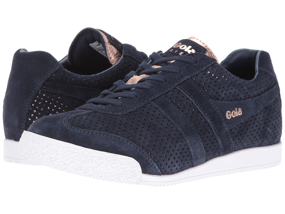 Gola Harrier Glimmer Suede (Navy/Rose Gold) Women
