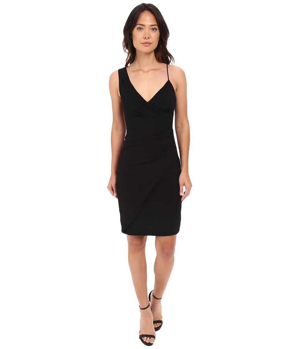 Nicole Miller Satin Back Asymetrical Cocktail Dress Black Womens Dress