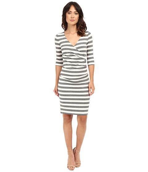 Nicole Miller Beky Short Sleeve Stripe Soft Jersey Dress - Grey/White