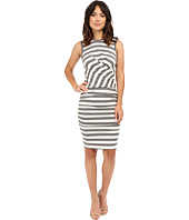 Nicole Miller - Soft Stripe Jersey Blouson Wrap Dress