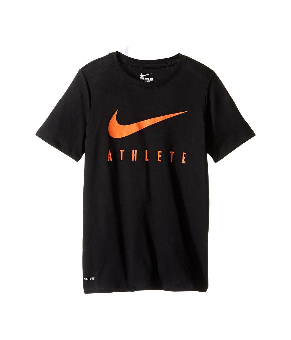 Nike Kids Athlete Swoosh Training T-Shirt (Little Kids/Big Kids) (Black/Safety Orange) Boy