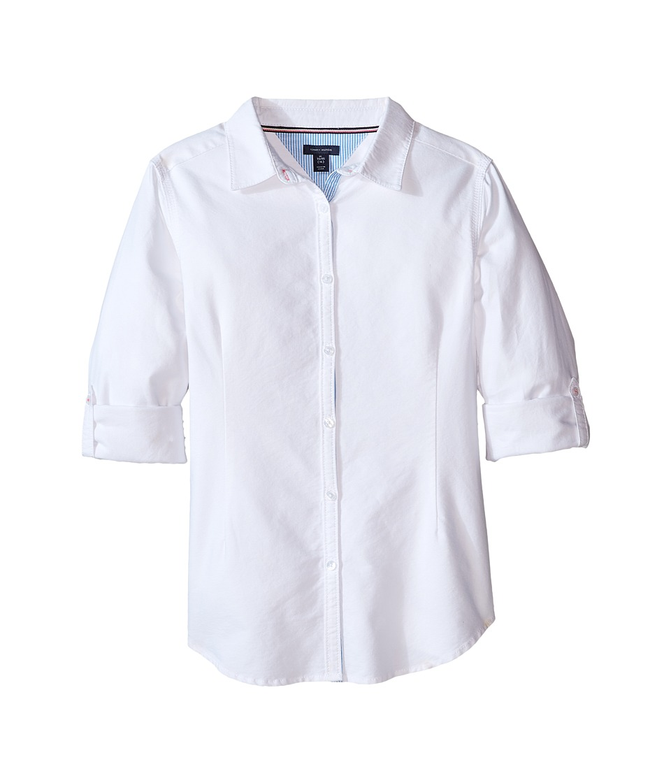 Tommy Hilfiger Kids - Solid Oxford Shirt (Big Kids) (White) Girls Clothing