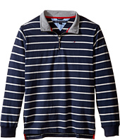 Tommy Hilfiger Kids - Stripe 1/2 Zip Sueded Jersey Sweater (Big Kids)