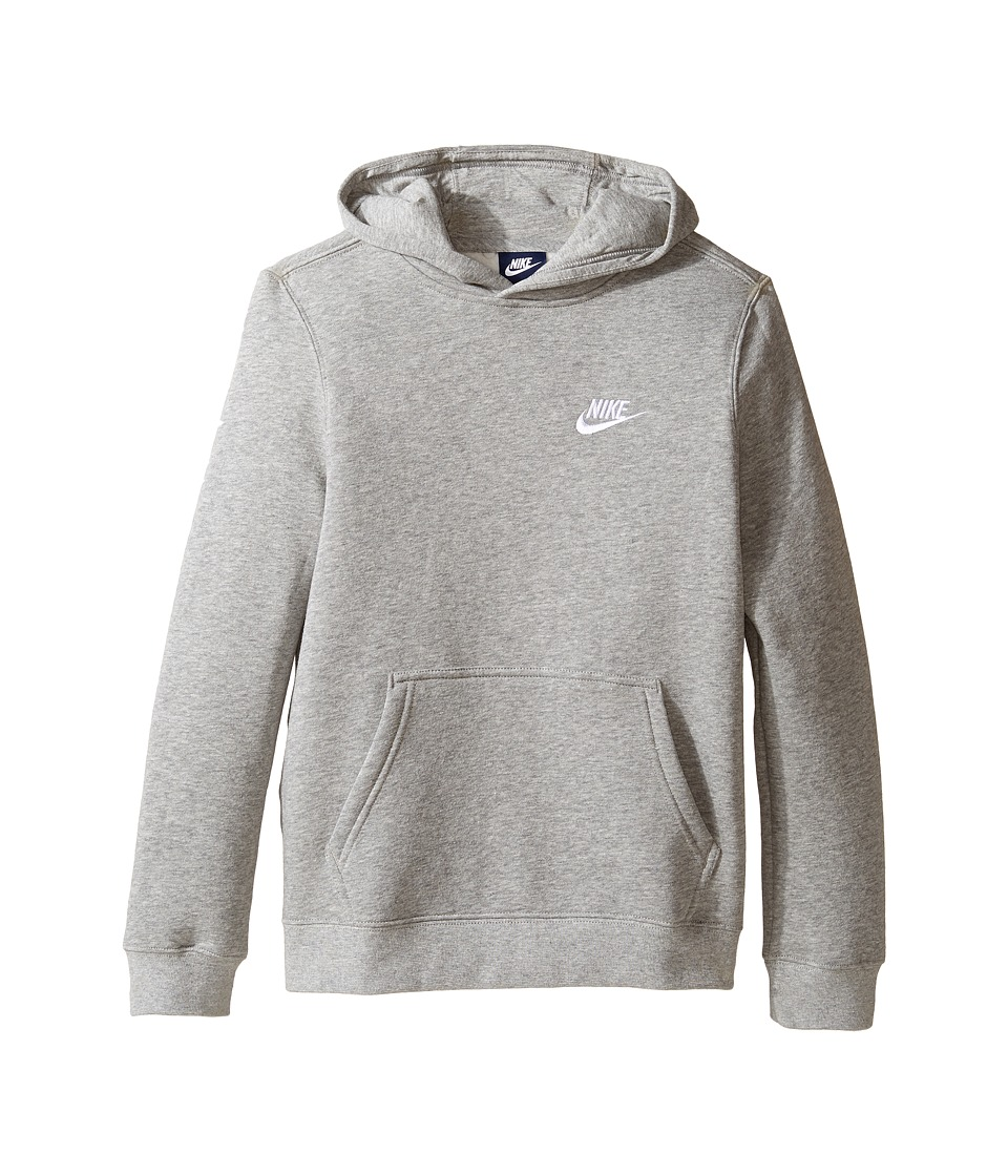 Nike Kids - Sportswear Pullover Hoodie (Little Kids/Big Kids) (Dark Grey Heather/Dark Grey Heather/White) Boys Sweatshirt