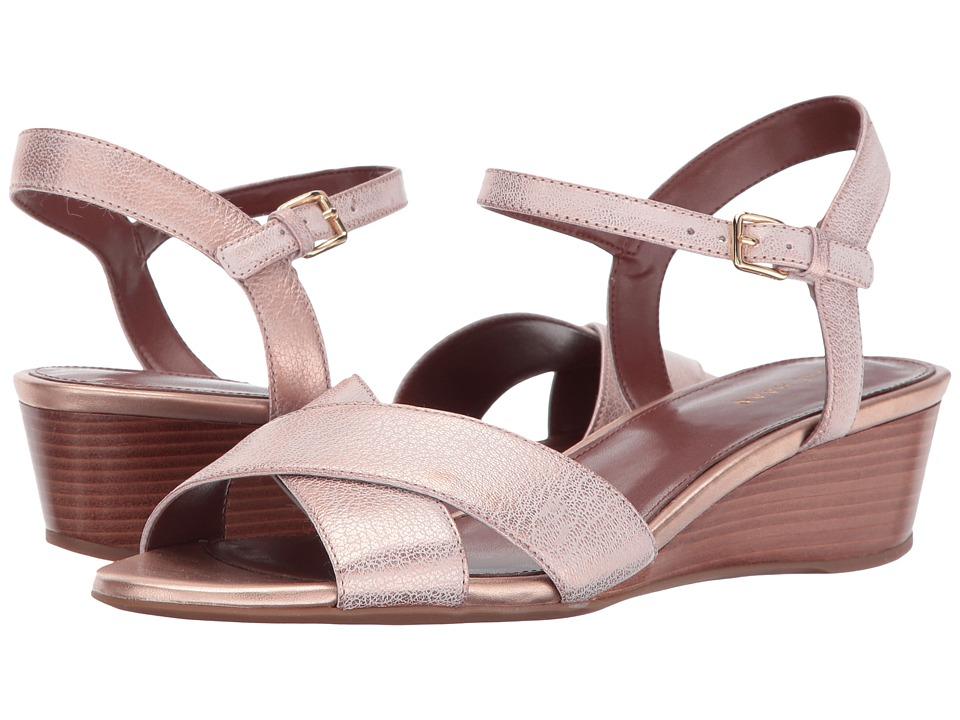 Vintage Sandals | Wedges, Espadrilles – 30s, 40s, 50s, 60s, 70s Cole Haan Elsie Cross Wedge 40 II Rose Gold Womens Wedge Shoes $150.00 AT vintagedancer.com